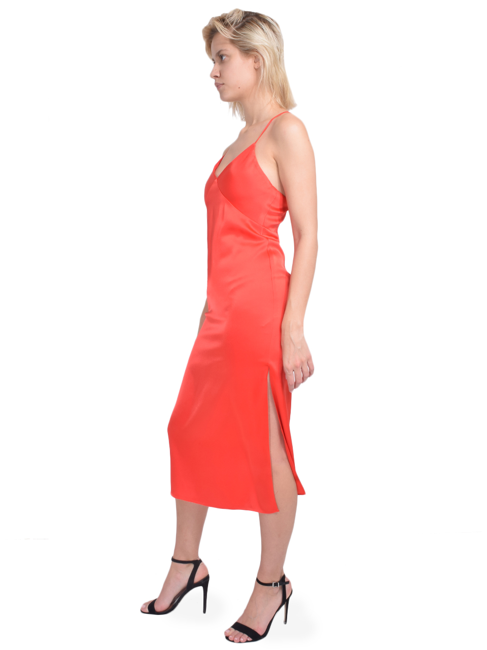 ALICE + OLIVIA Loraine Seamed Slip Midi Dress in Bright Poppy Side View
