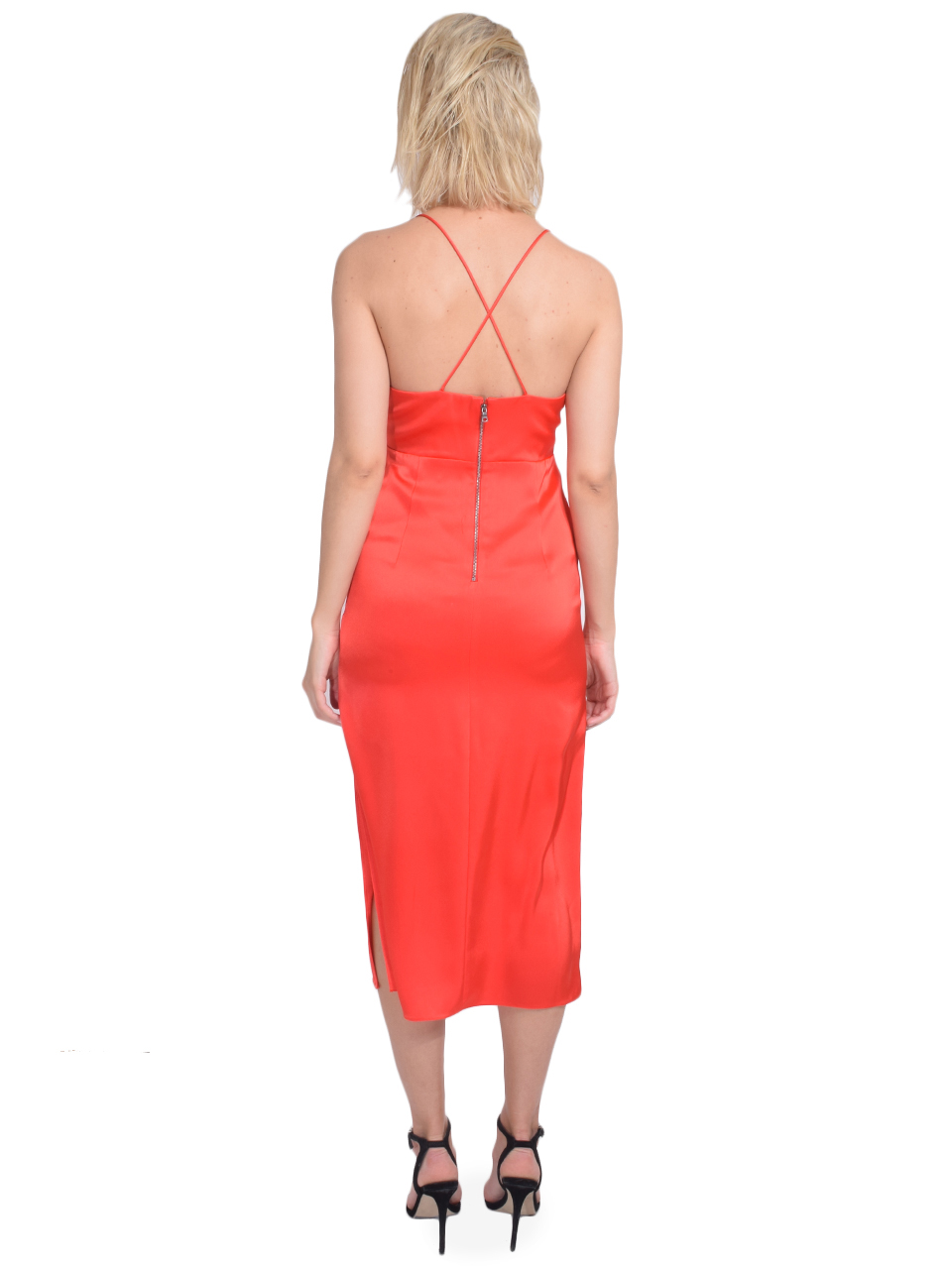 ALICE + OLIVIA Loraine Seamed Slip Midi Dress in Bright Poppy Back View