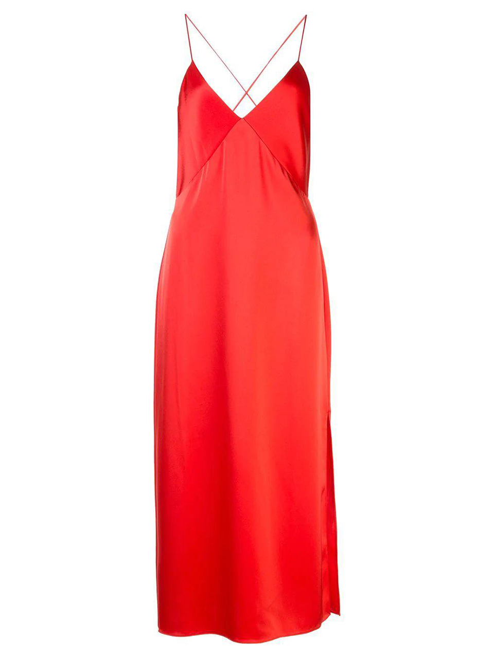 ALICE + OLIVIA Loraine Seamed Slip Midi Dress in Bright Poppy Product Shot