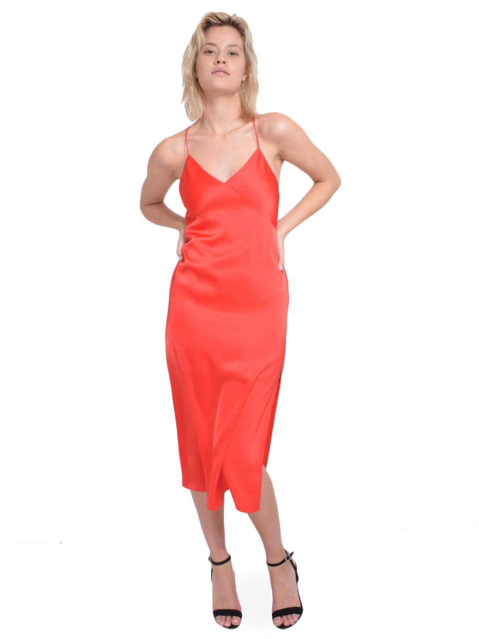 ALICE + OLIVIA Loraine Seamed Slip Midi Dress in Bright Poppy Front View