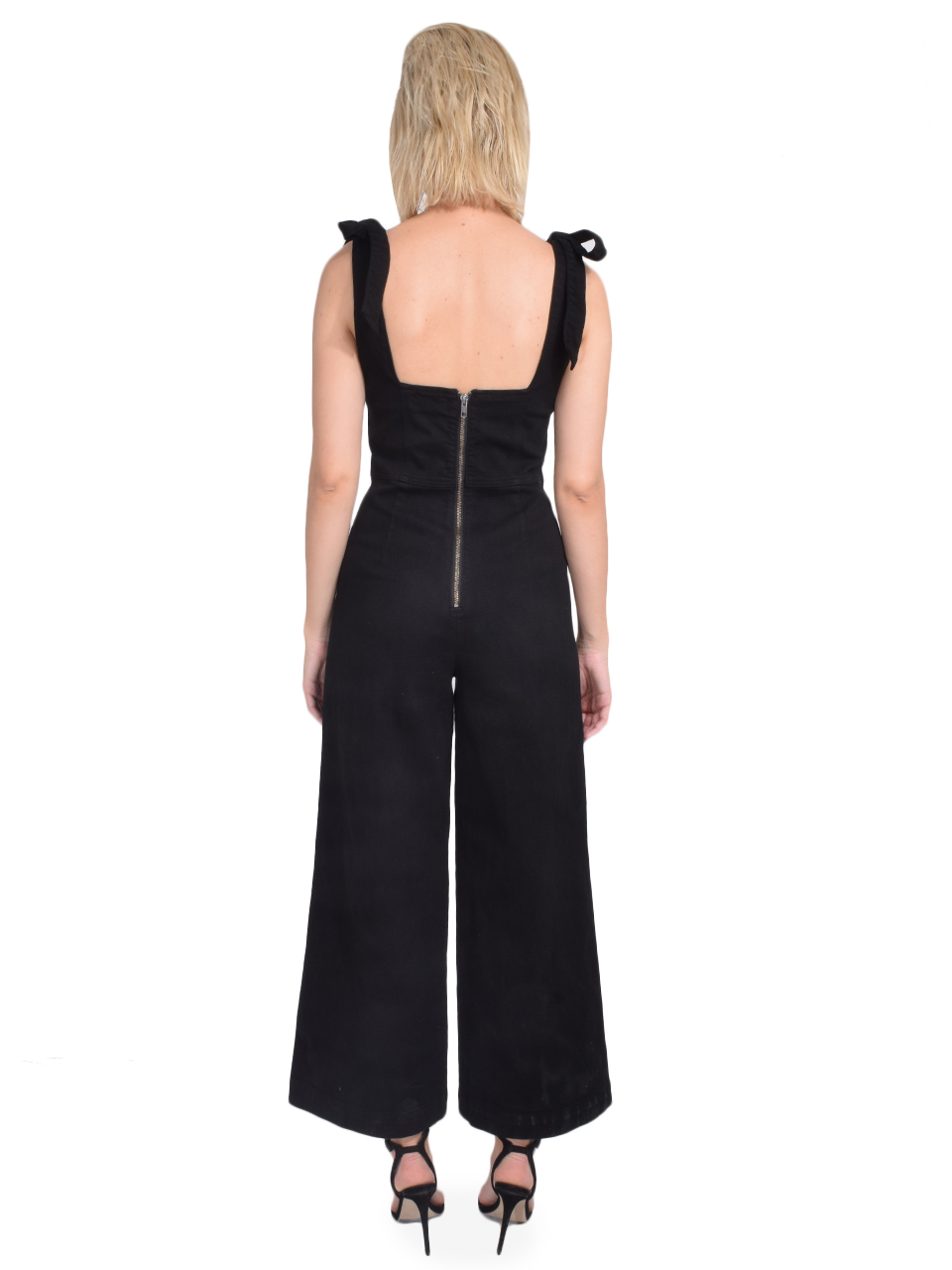 ALICE + OLIVIA Kinley Tie Shoulder Gaucho Jumpsuit in Night Fever Back View