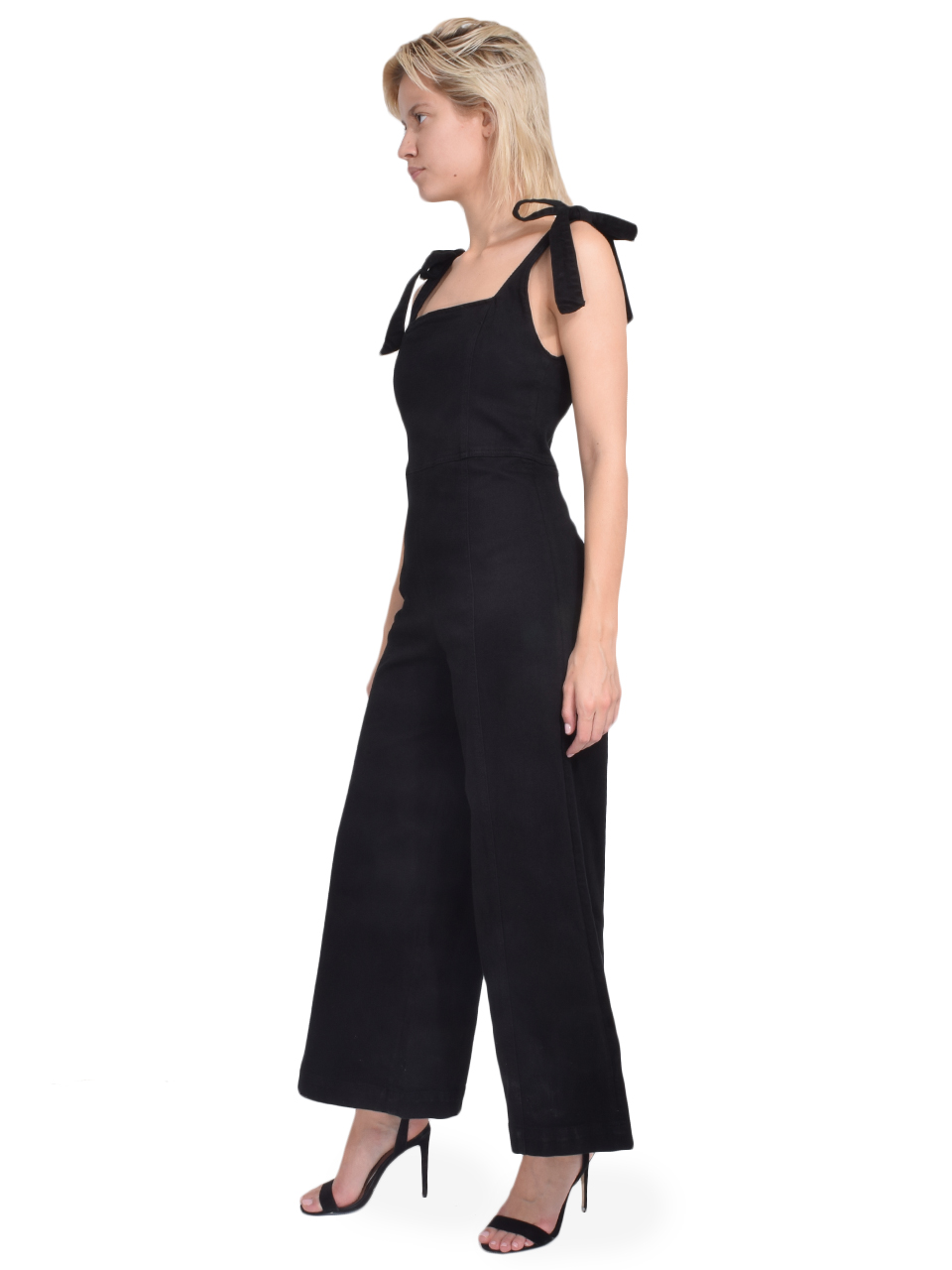 ALICE + OLIVIA Kinley Tie Shoulder Gaucho Jumpsuit in Night Fever Side View