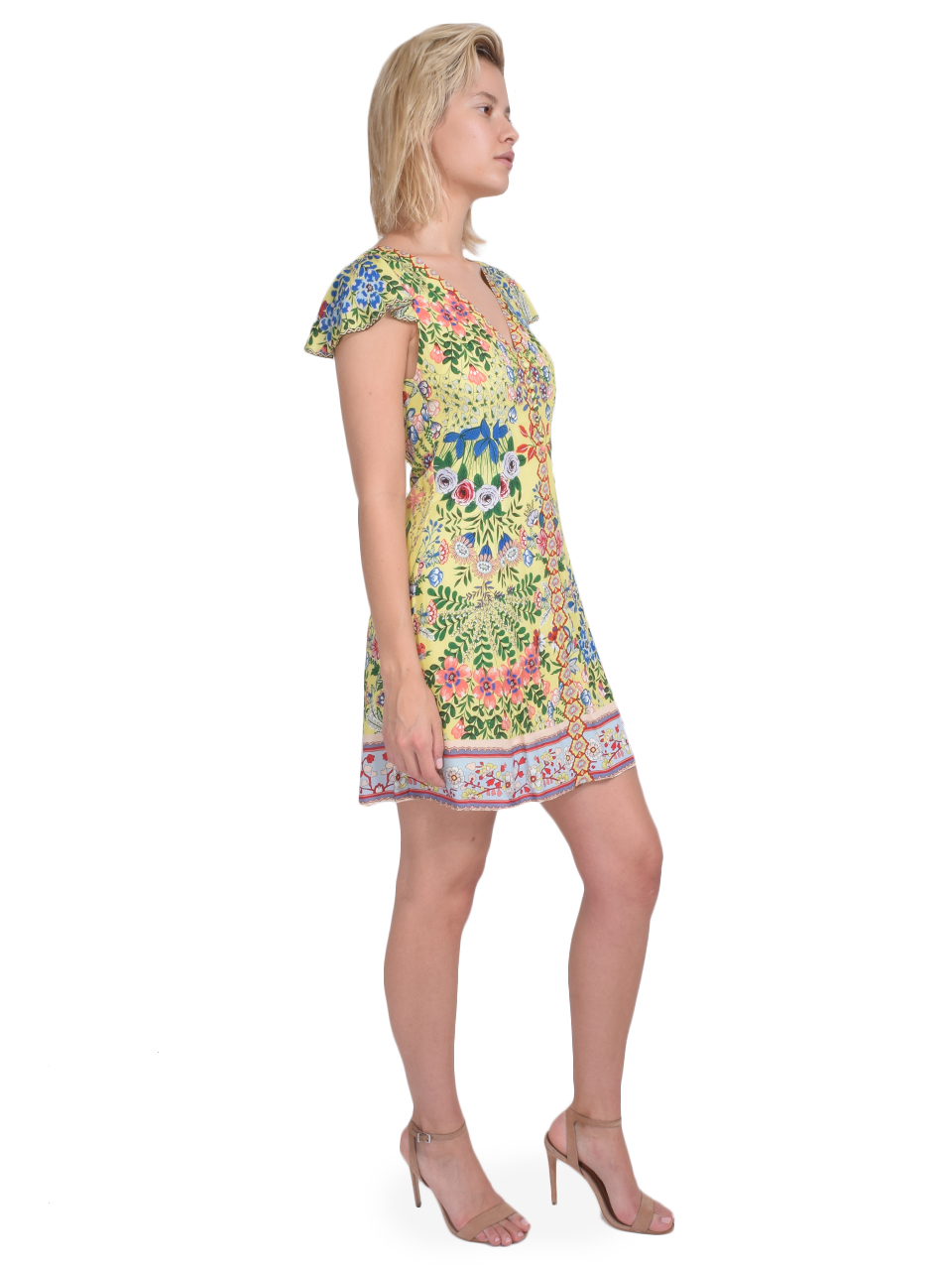 ALICE + OLIVIA Hadley Button Front Flare Dress in Wildflower Daffodil Side View