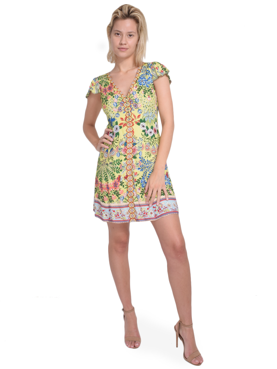 ALICE + OLIVIA Hadley Button Front Flare Dress in Wildflower Daffodil Front View  X1https://cdn11.bigcommerce.com/s-3wu6n/products/33201/images/109482/34__19111.1590180547.244.365.jpg?c=2X2