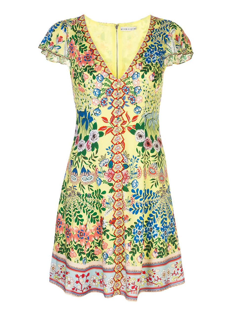 ALICE + OLIVIA Hadley Button Front Flare Dress in Wildflower Daffodil Product Shot