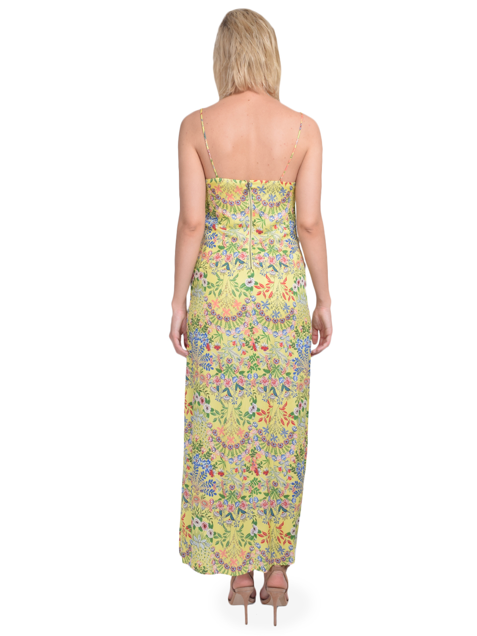 ALICE + OLIVIA Harmony Slip Dress with Slit in Wildflower Daffodil Back View
