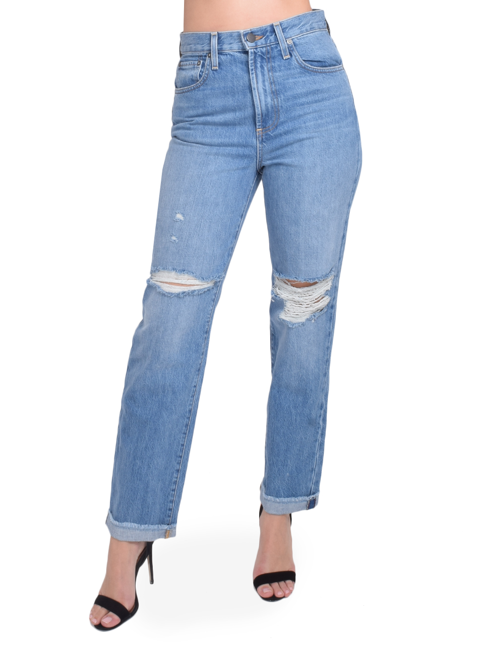 ALICE + OLIVIA Amazing High Rise Boyfriend Jean in Not Yours Front View  X1https://cdn11.bigcommerce.com/s-3wu6n/products/33204/images/109499/50__80824.1590180833.244.365.jpg?c=2X2