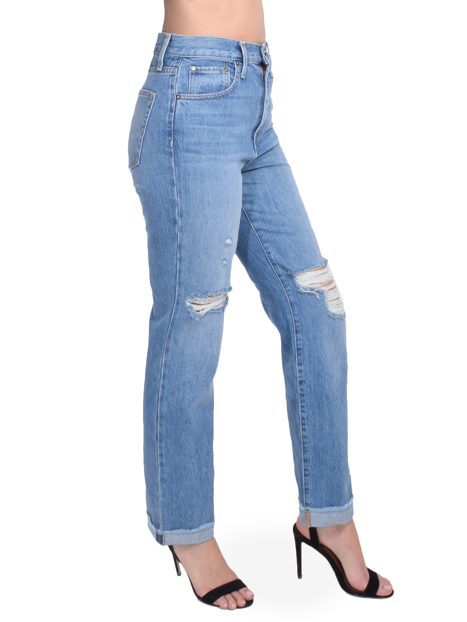 ALICE + OLIVIA Amazing High Rise Boyfriend Jean in Not Yours Side View