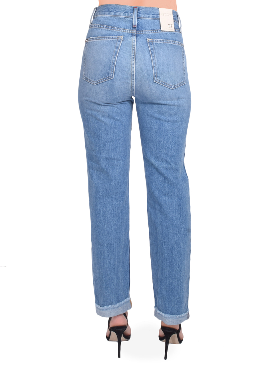 ALICE + OLIVIA Amazing High Rise Boyfriend Jean in Not Yours Back View