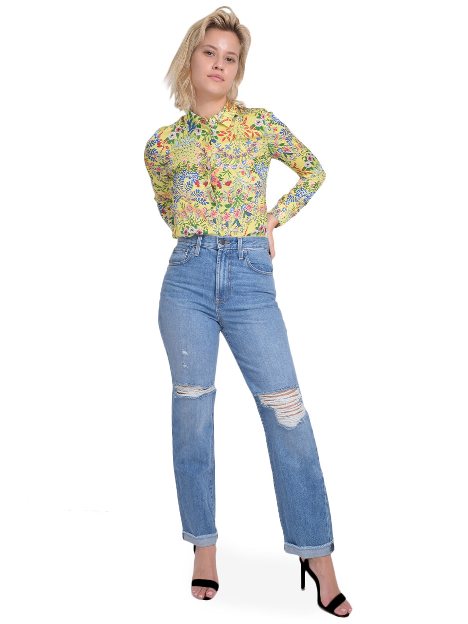 ALICE + OLIVIA Amazing High Rise Boyfriend Jean in Not Yours Full Outfit
