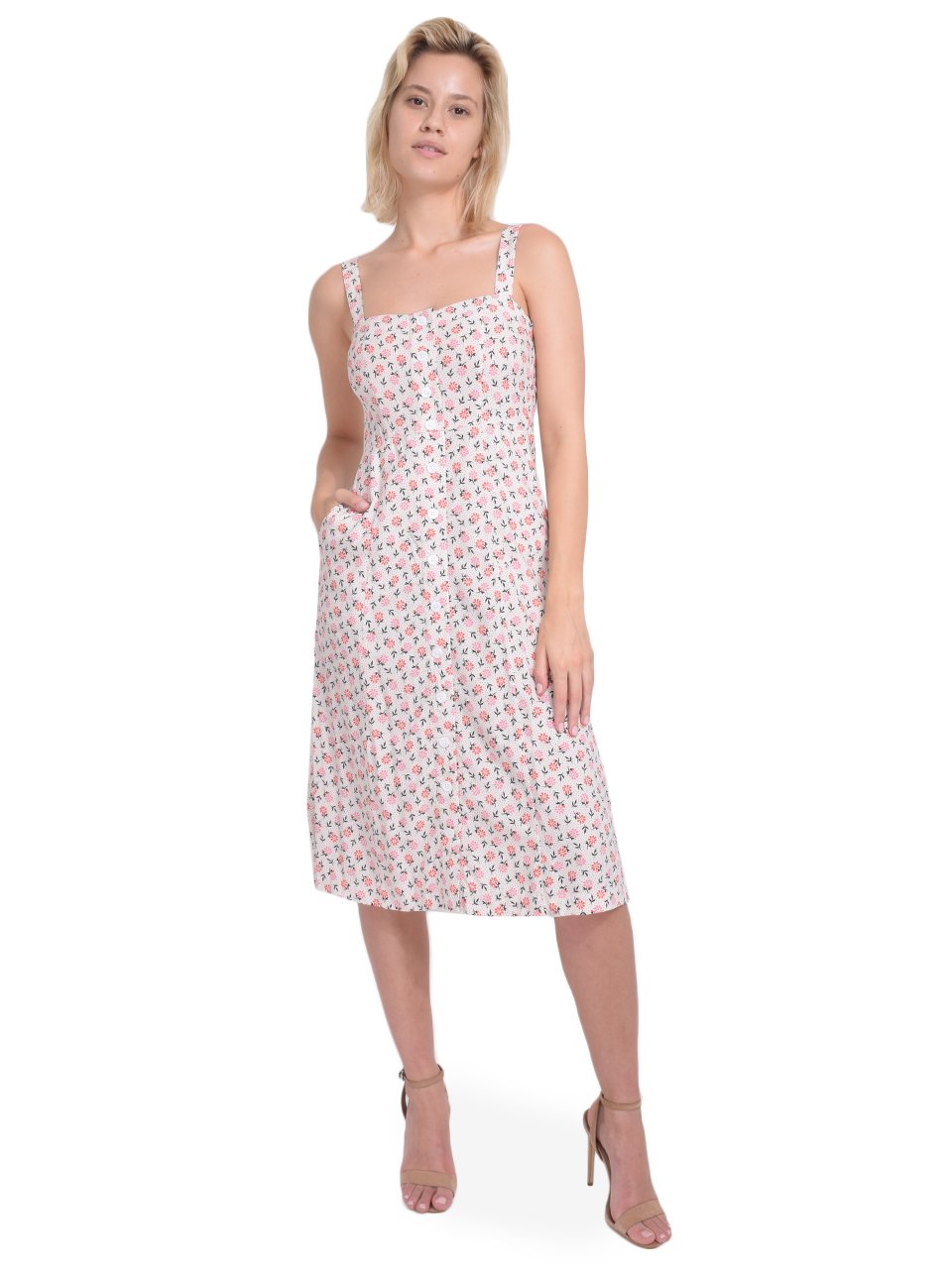 Capulet Sunny Midi Dress in Dot Floral Front View  X1https://cdn11.bigcommerce.com/s-3wu6n/products/33206/images/109519/60__38212.1590528355.244.365.jpg?c=2X2
