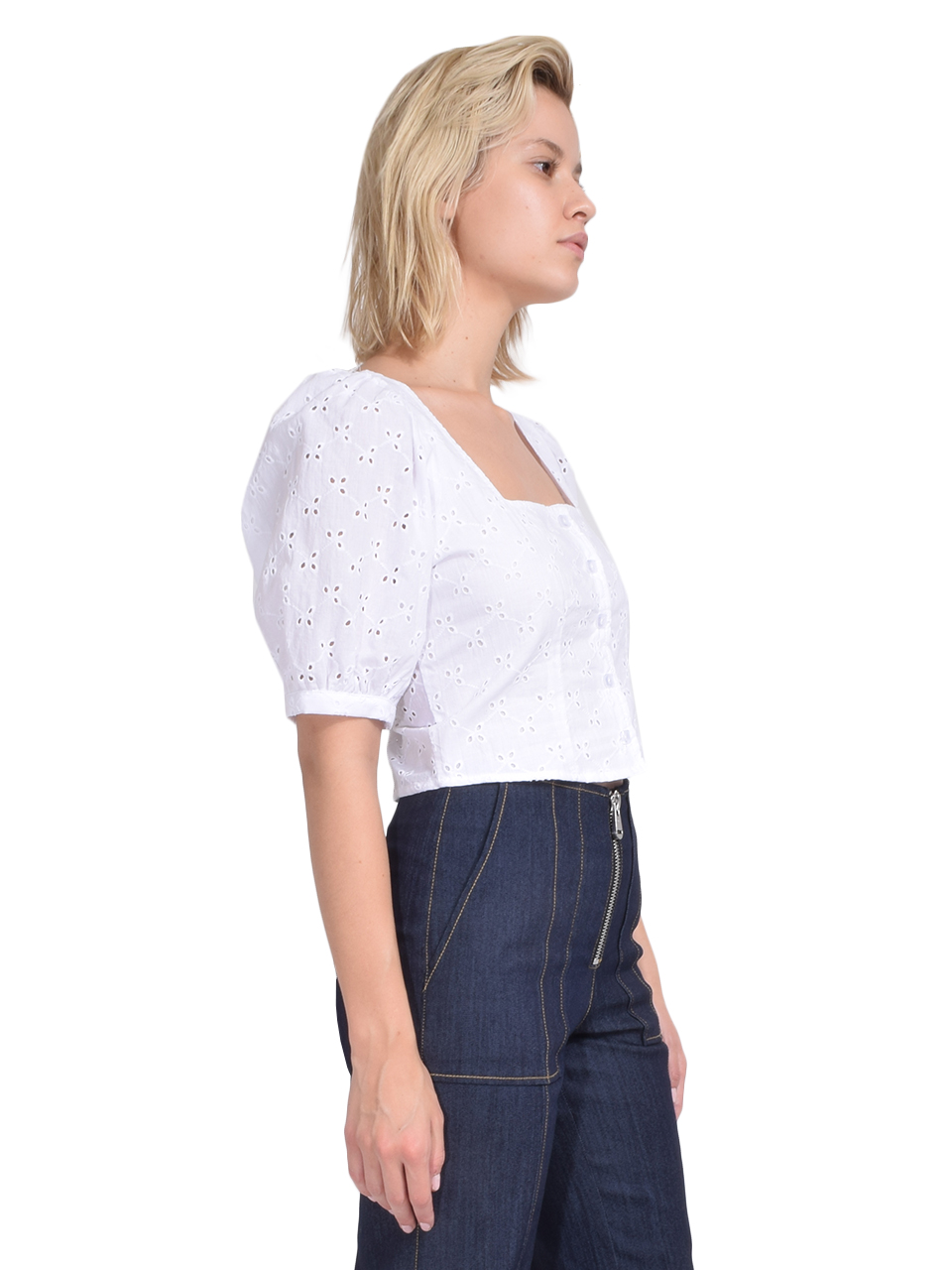 Rachel Pally Eyelet Kimmie Top in White Side View