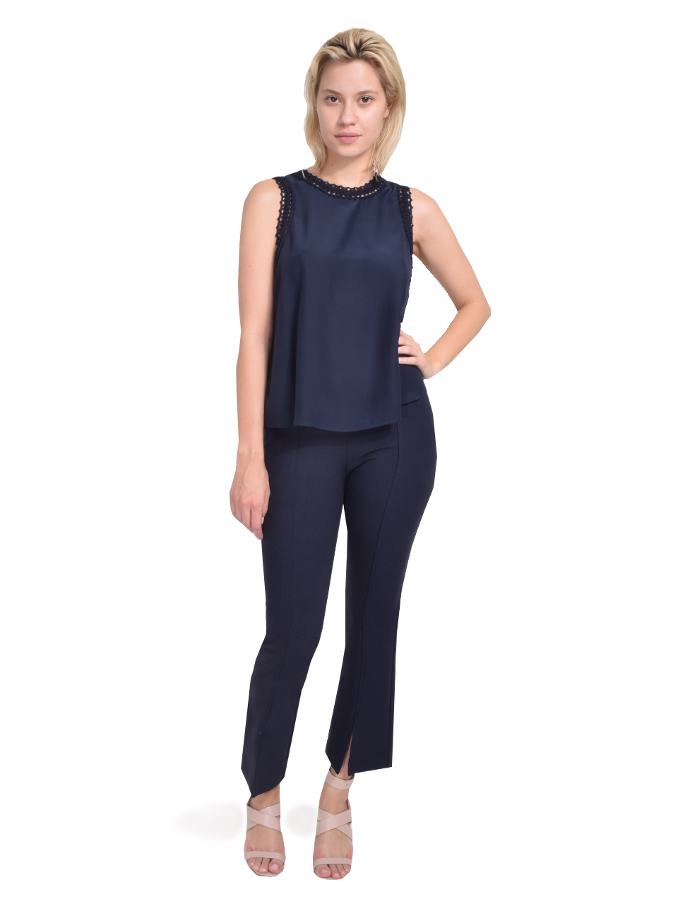 Cinq à Sept Ellina Top in Navy Full Outfit
