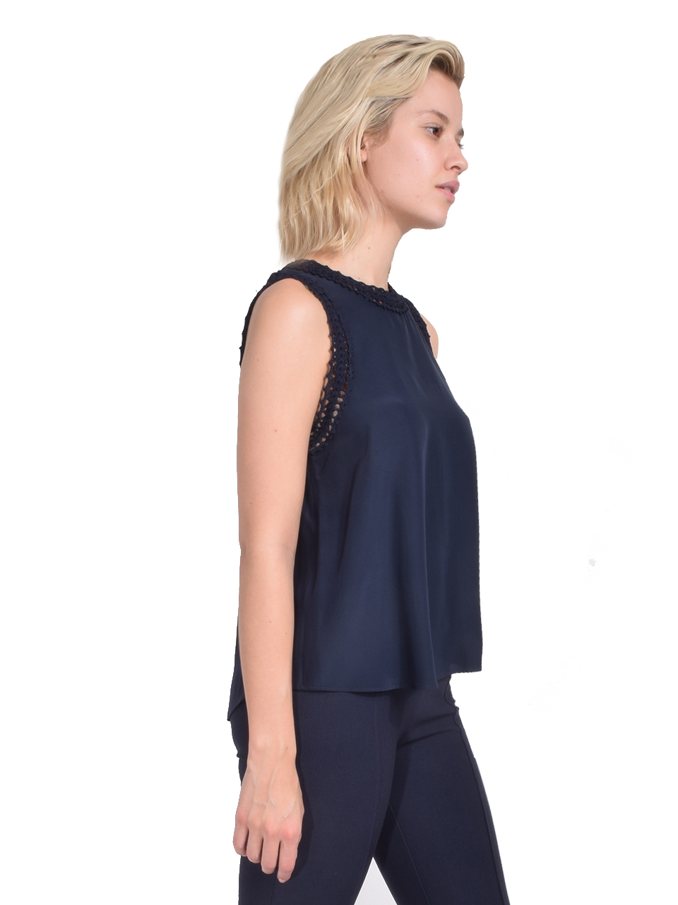 Cinq à Sept Ellina Top in Navy Side View