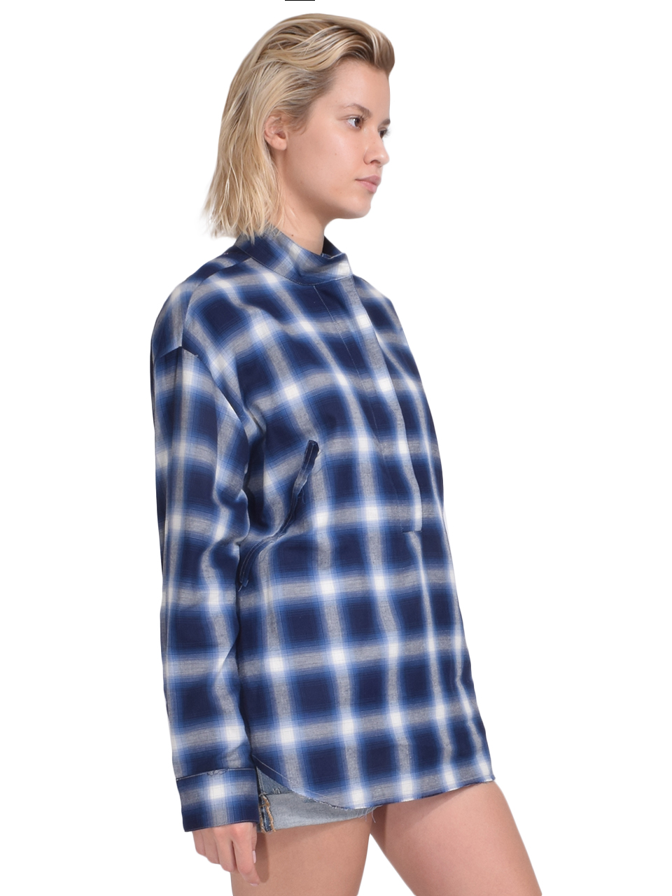 RtA Josie Half Zip Plaid Shirt Side View