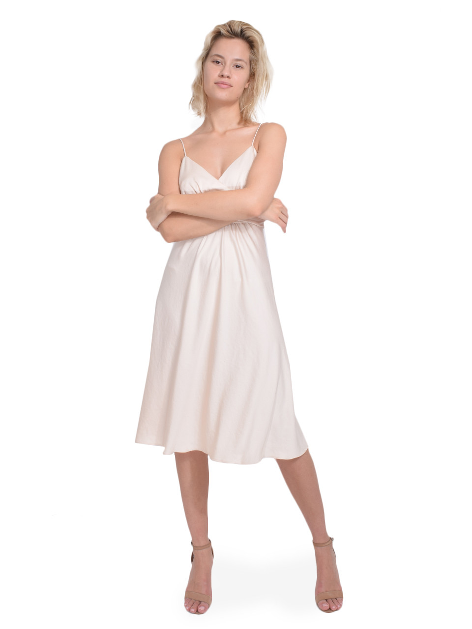 Ba&sh Dixie Dress in Champagne Front View  X1https://cdn11.bigcommerce.com/s-3wu6n/products/33234/images/109598/134__68623.1590711249.244.365.jpg?c=2X2