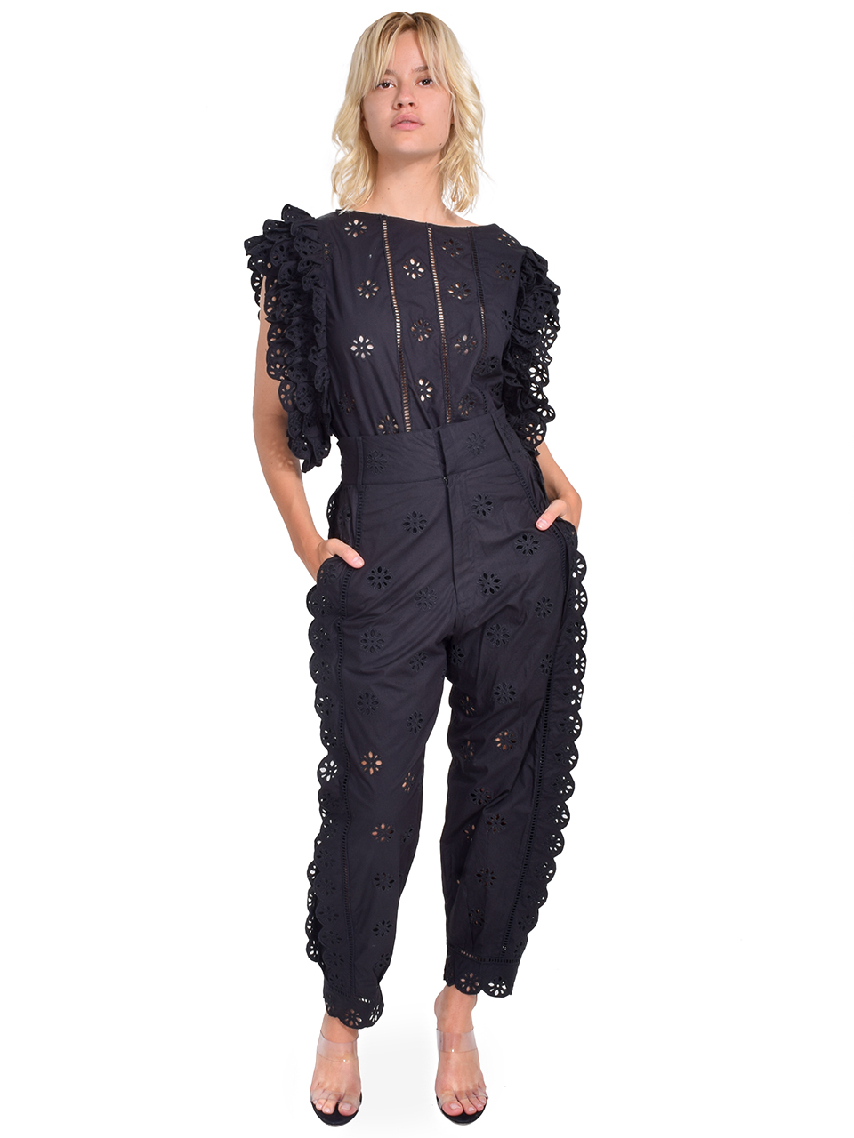 Laurence Bras Peony Eyelet Pants in Black Full Outfit