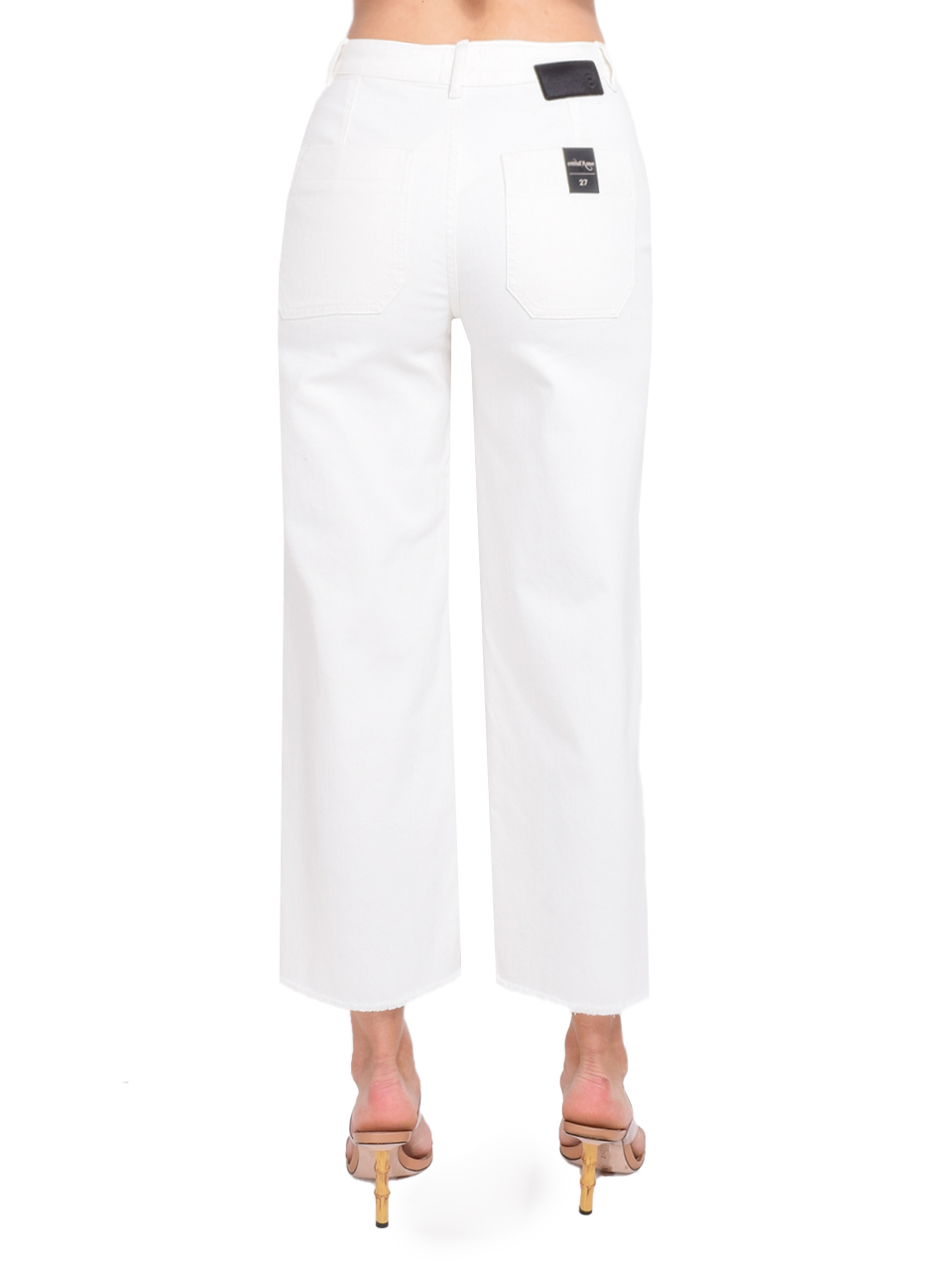 Ottod'Ame Cropped Flare Jeans in White Back View