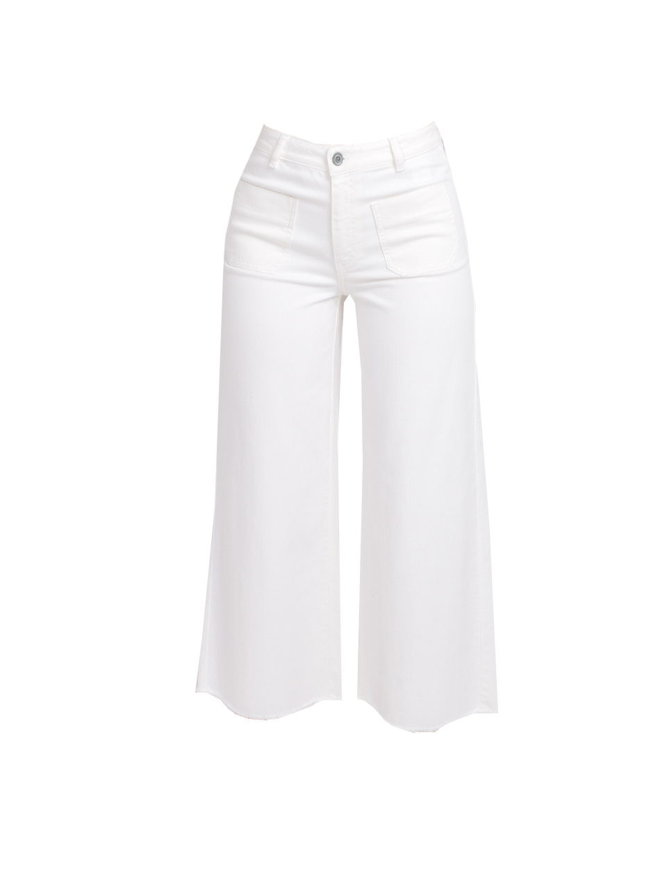 Ottod'Ame Cropped Flare Jeans in White Product Shot