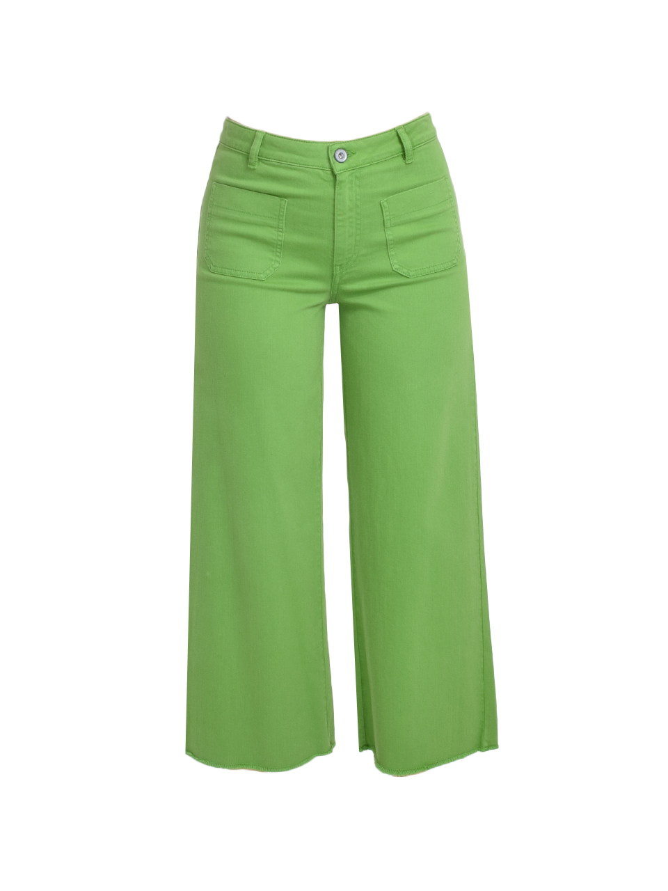 Ottod'Ame Cropped Flare Jeans in Green Product Shot