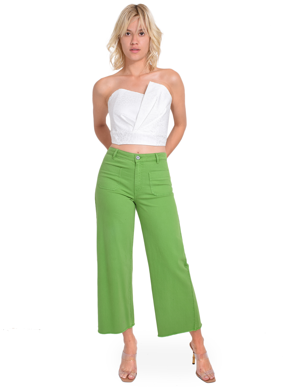 Ottod'Ame Cropped Flare Jeans in Green Full Outfit
