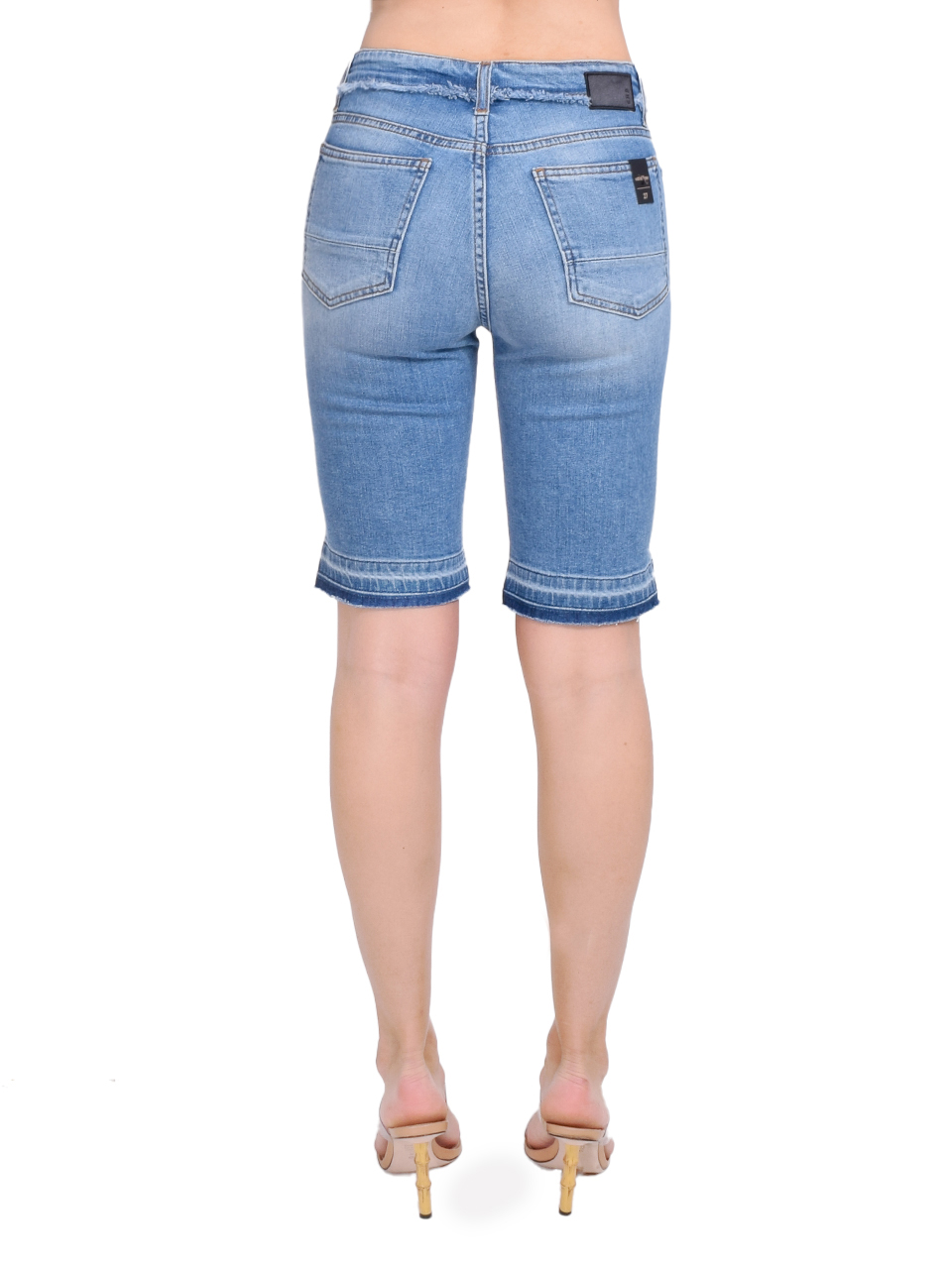 Ottod'Ame Denim Bike Shorts with Trims Back View