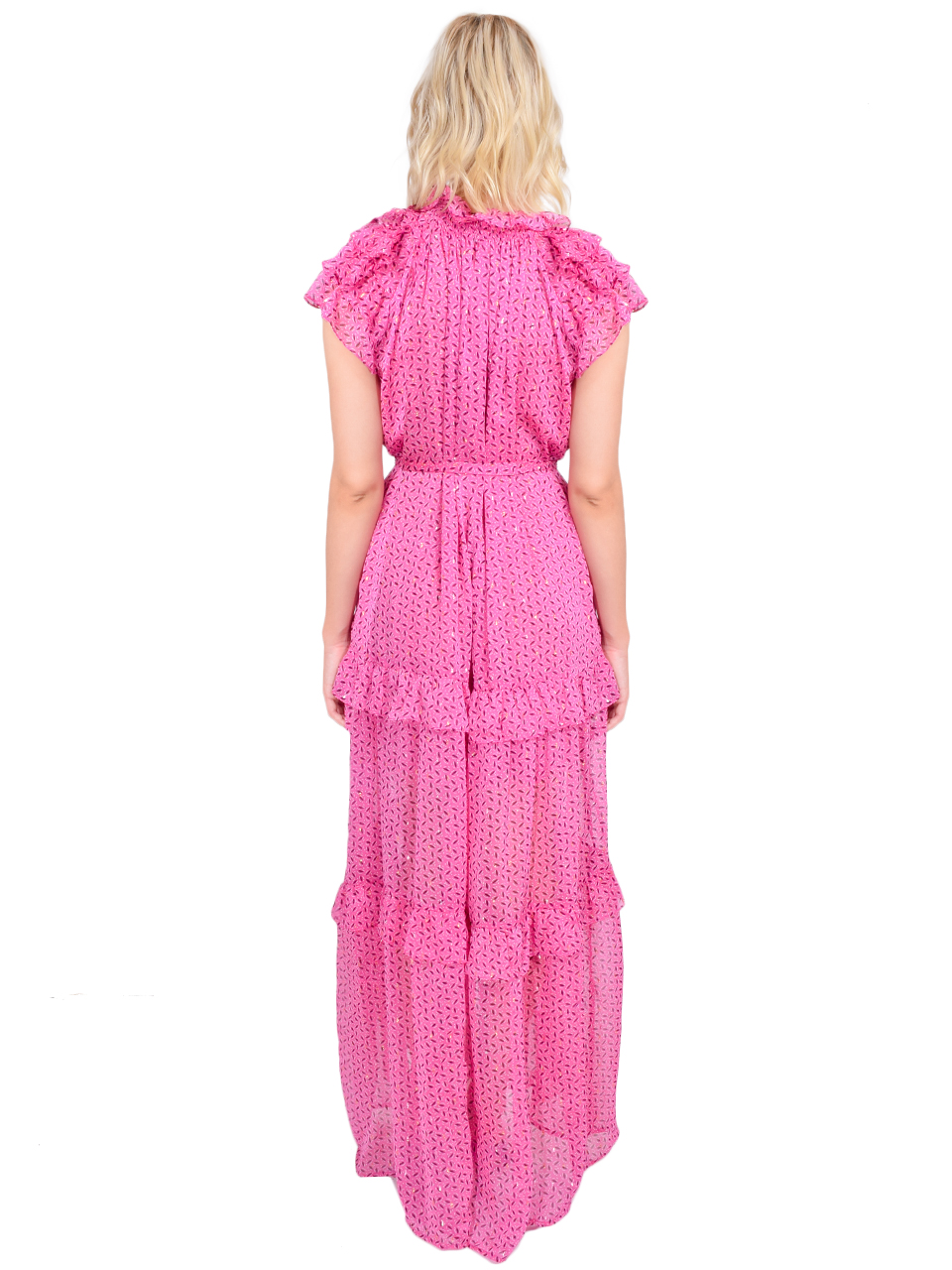 Sabina Musayev Jessa Dress in Pink Print Back View