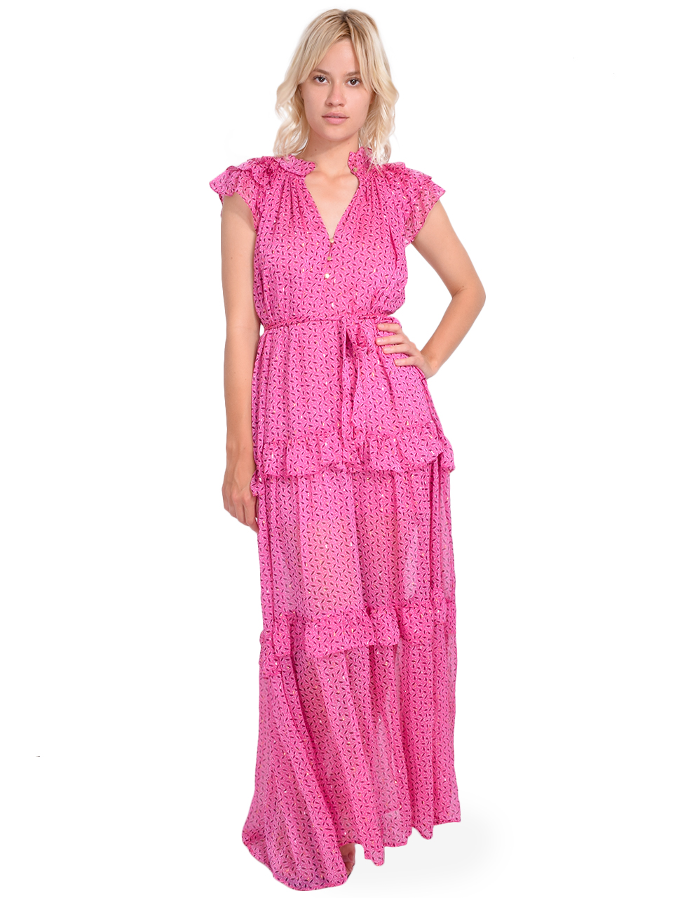 Sabina Musayev Jessa Dress in Pink Print Front View X1https://cdn11.bigcommerce.com/s-3wu6n/products/33274/images/109787/81__69183.1593744393.244.365.jpg?c=2X2