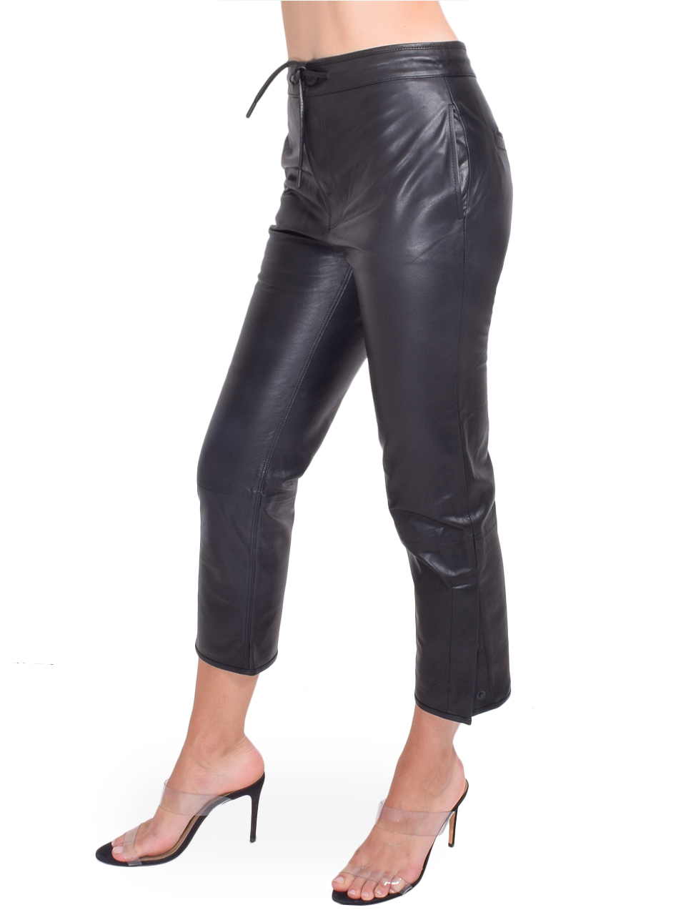 RtA Matisse Pants in Black Leather Side View