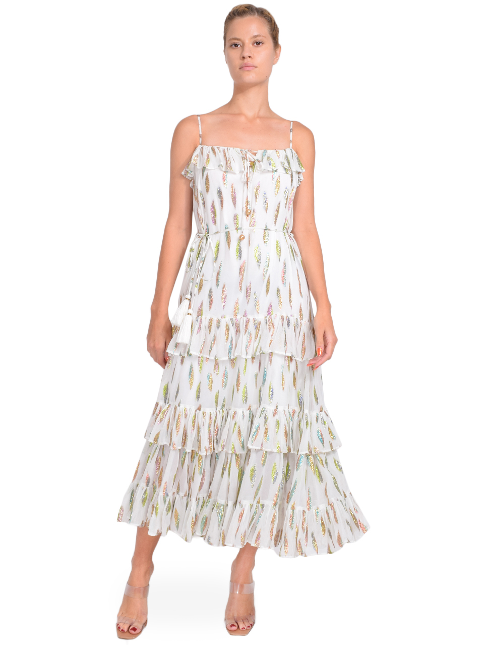 Karina Grimaldi Lori Metallic Print Dress with White Leaf Front View  X1https://cdn11.bigcommerce.com/s-3wu6n/products/33383/images/110349/68__33963.1599787770.244.365.jpg?c=2X2
