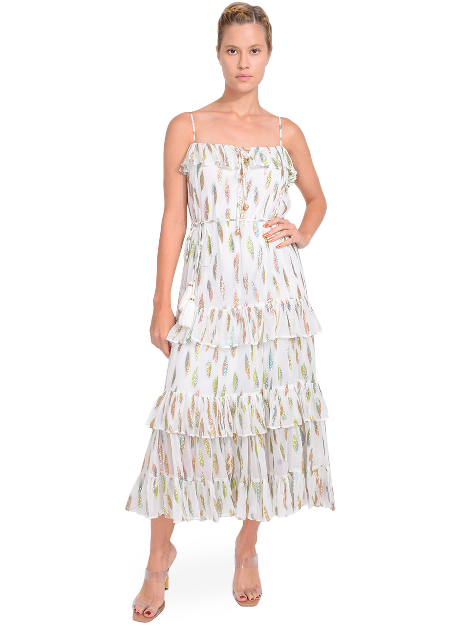 Karina Grimaldi Lori Metallic Print Dress with White Leaf Full Outfit