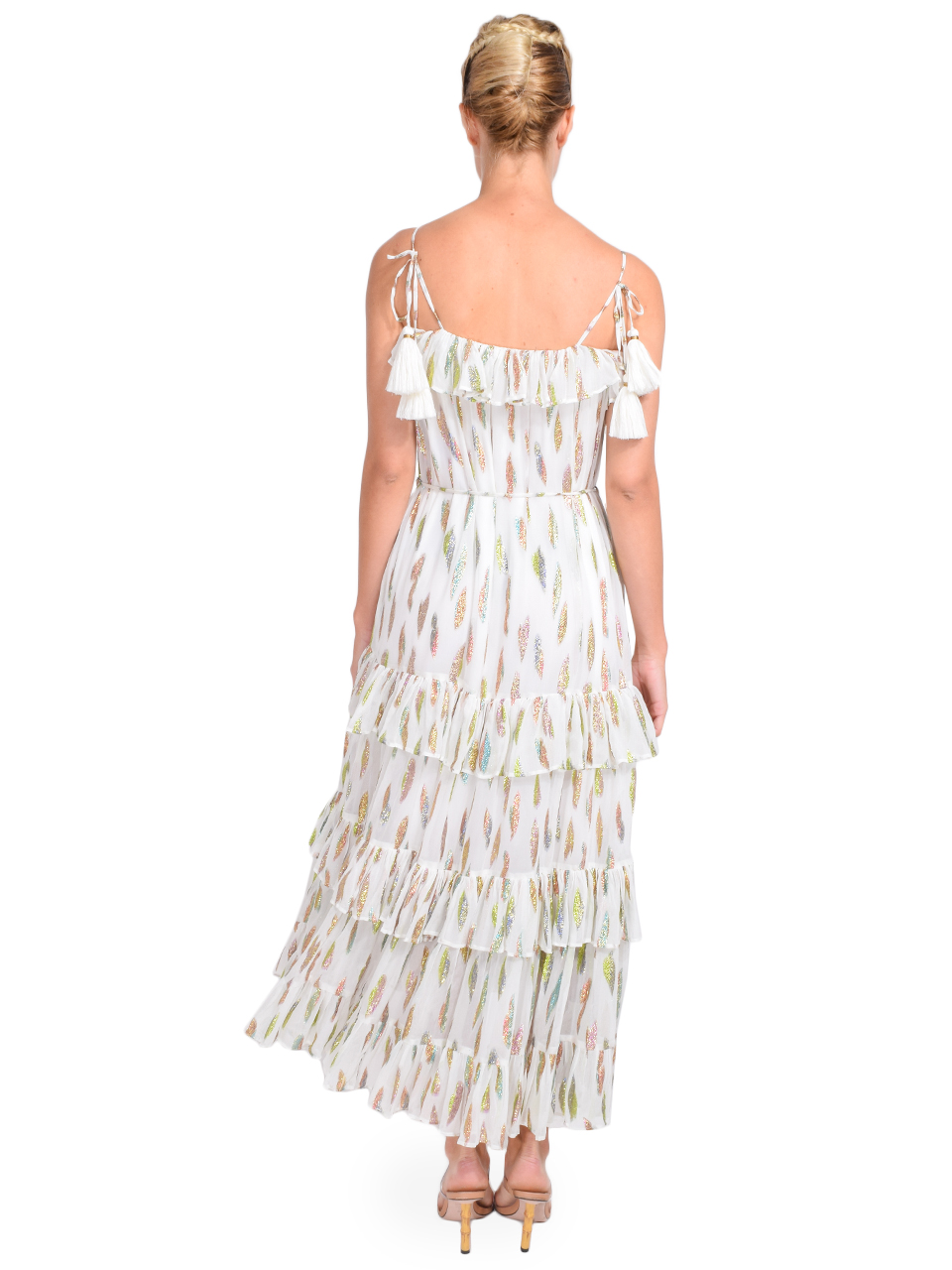 Karina Grimaldi Lori Metallic Print Dress with White Leaf Back View