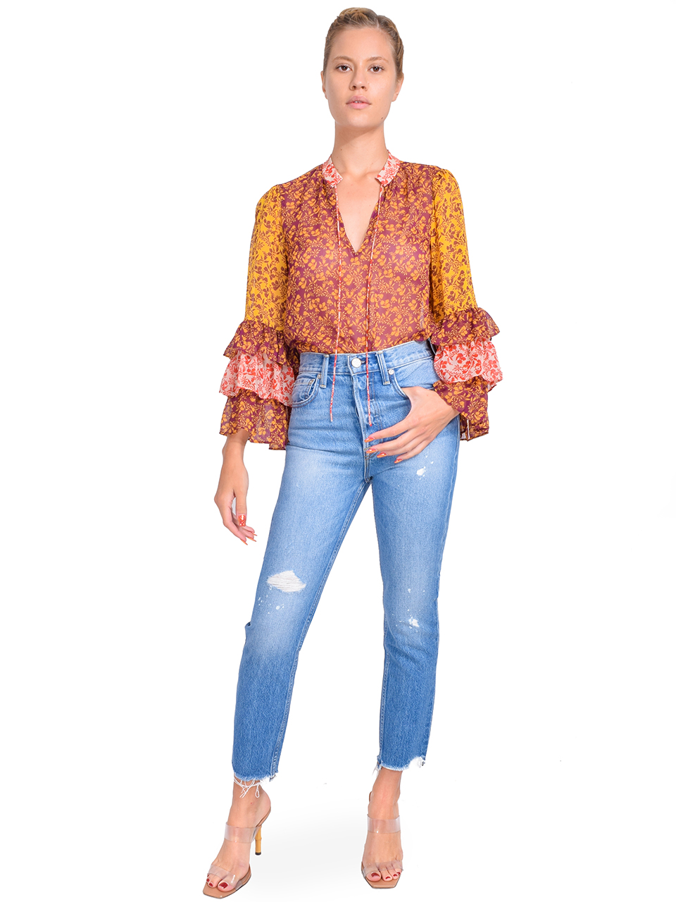Alice + Olivia Justice Ruffle Sleeve Blouse in Rome Floral Full Outfit