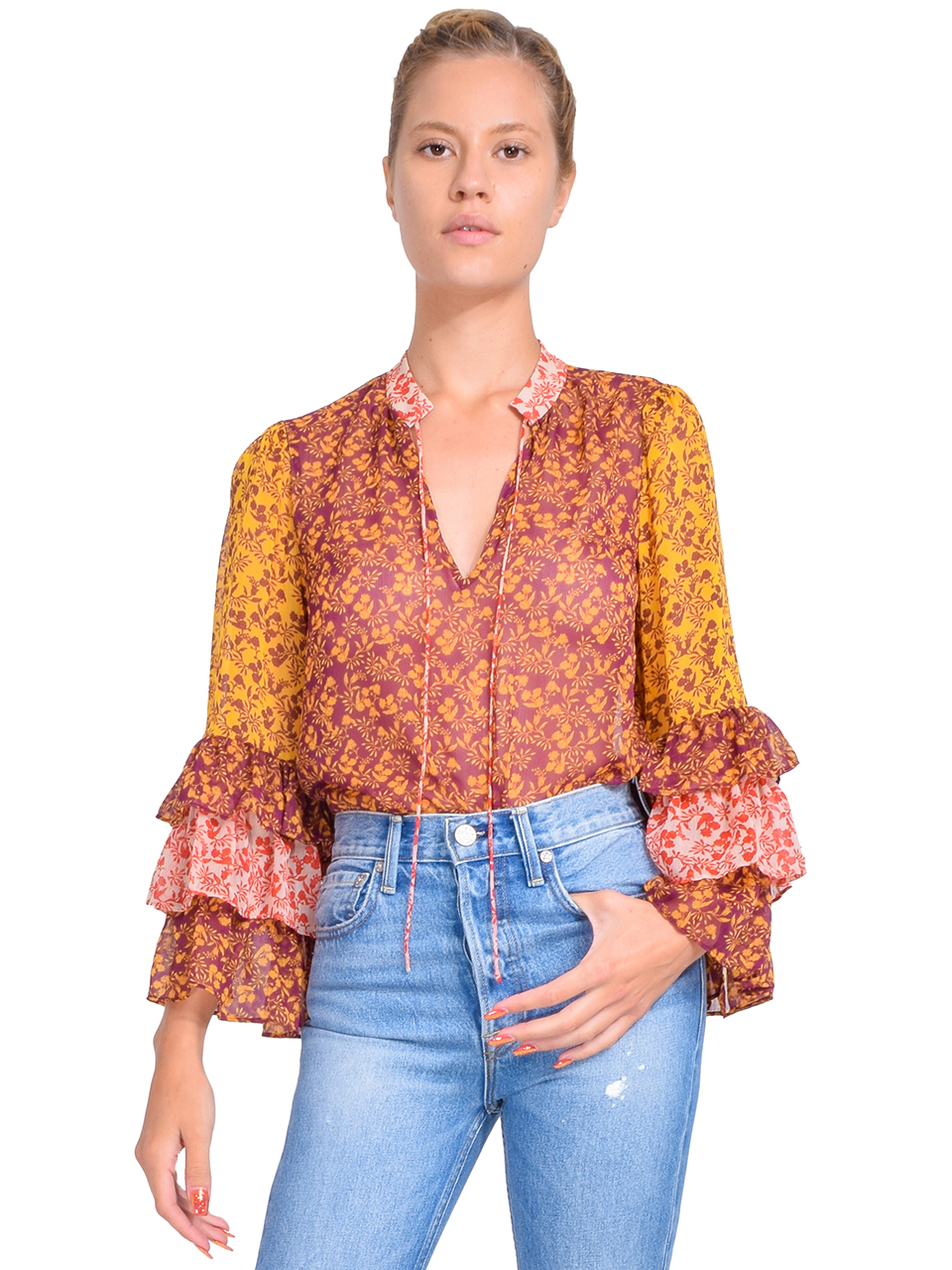 Alice + Olivia Justice Ruffle Sleeve Blouse in Rome Floral Front View  x1https://cdn11.bigcommerce.com/s-3wu6n/products/33391/images/110389/110__67804.1600292274.244.365.jpg?c=2x2