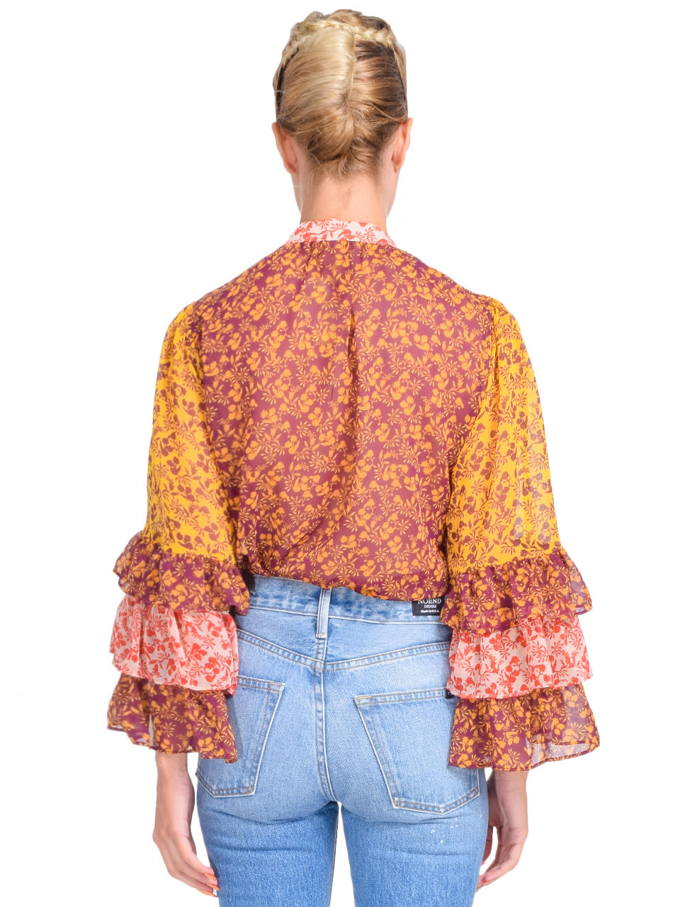 Alice + Olivia Justice Ruffle Sleeve Blouse in Rome Floral Back View