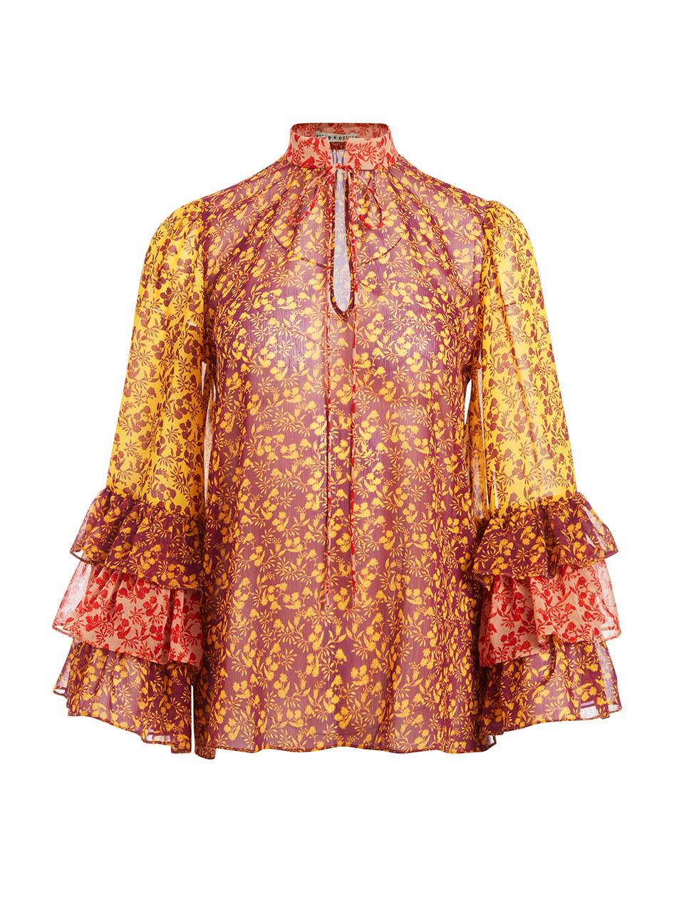 Alice + Olivia Justice Ruffle Sleeve Blouse in Rome Floral Product Shot