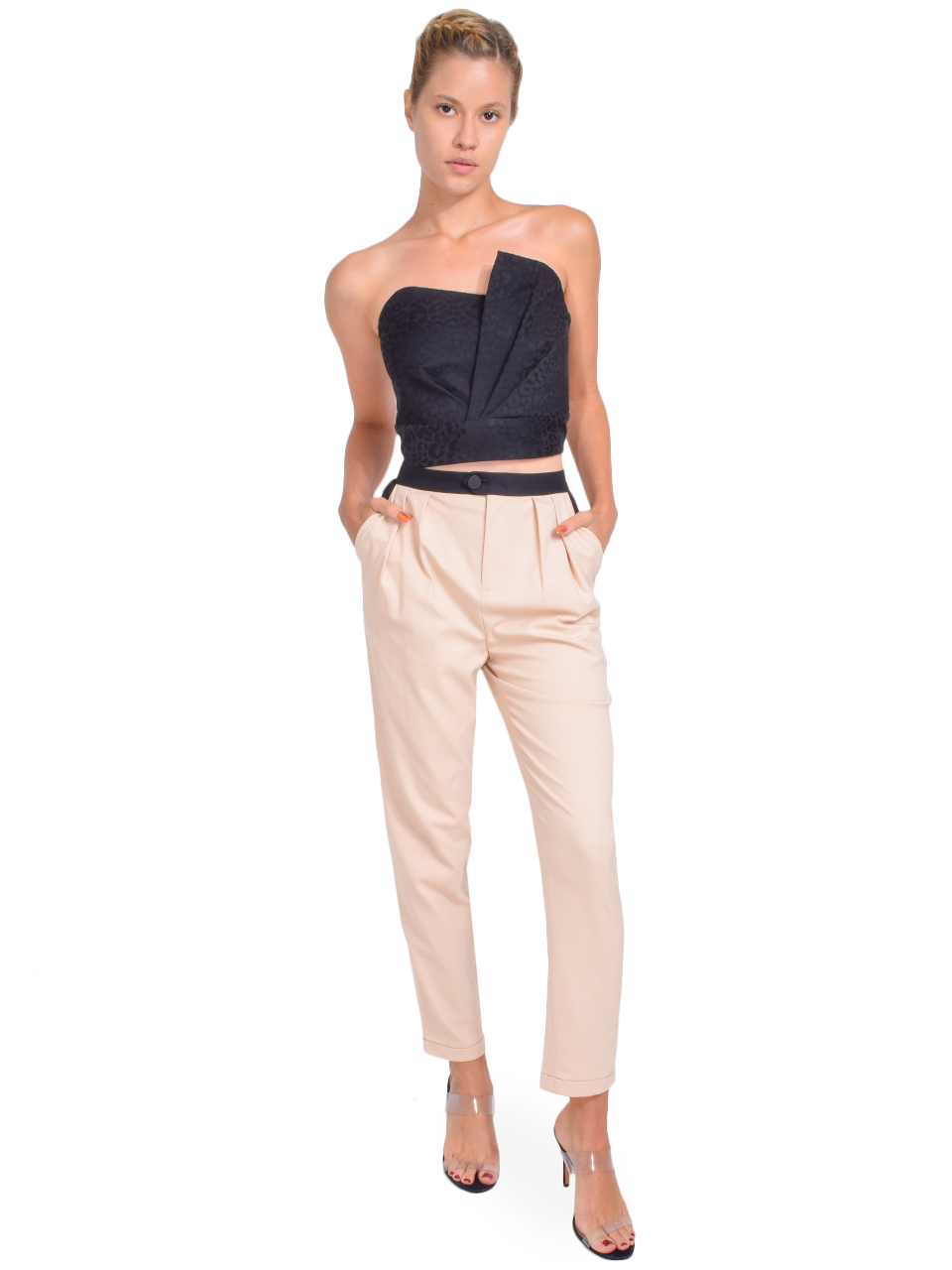 Alice + Olivia Roy Front Pleat Pant in Sepia Full Outfit
