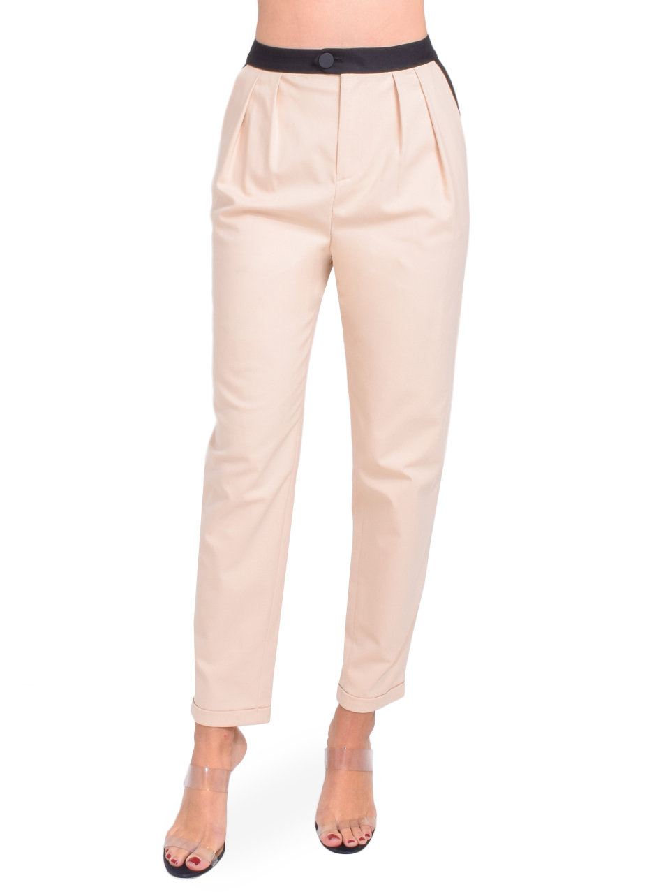 Alice + Olivia Roy Front Pleat Pant in Sepia Front View  X1https://cdn11.bigcommerce.com/s-3wu6n/products/33394/images/110404/125__68572.1600302835.244.365.jpg?c=2X2