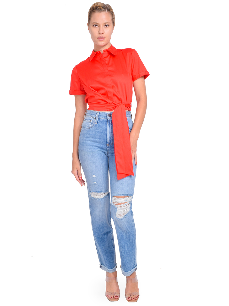Alice + Olivia Naomi Tie Front Top in Bright Poppy Full Outfit