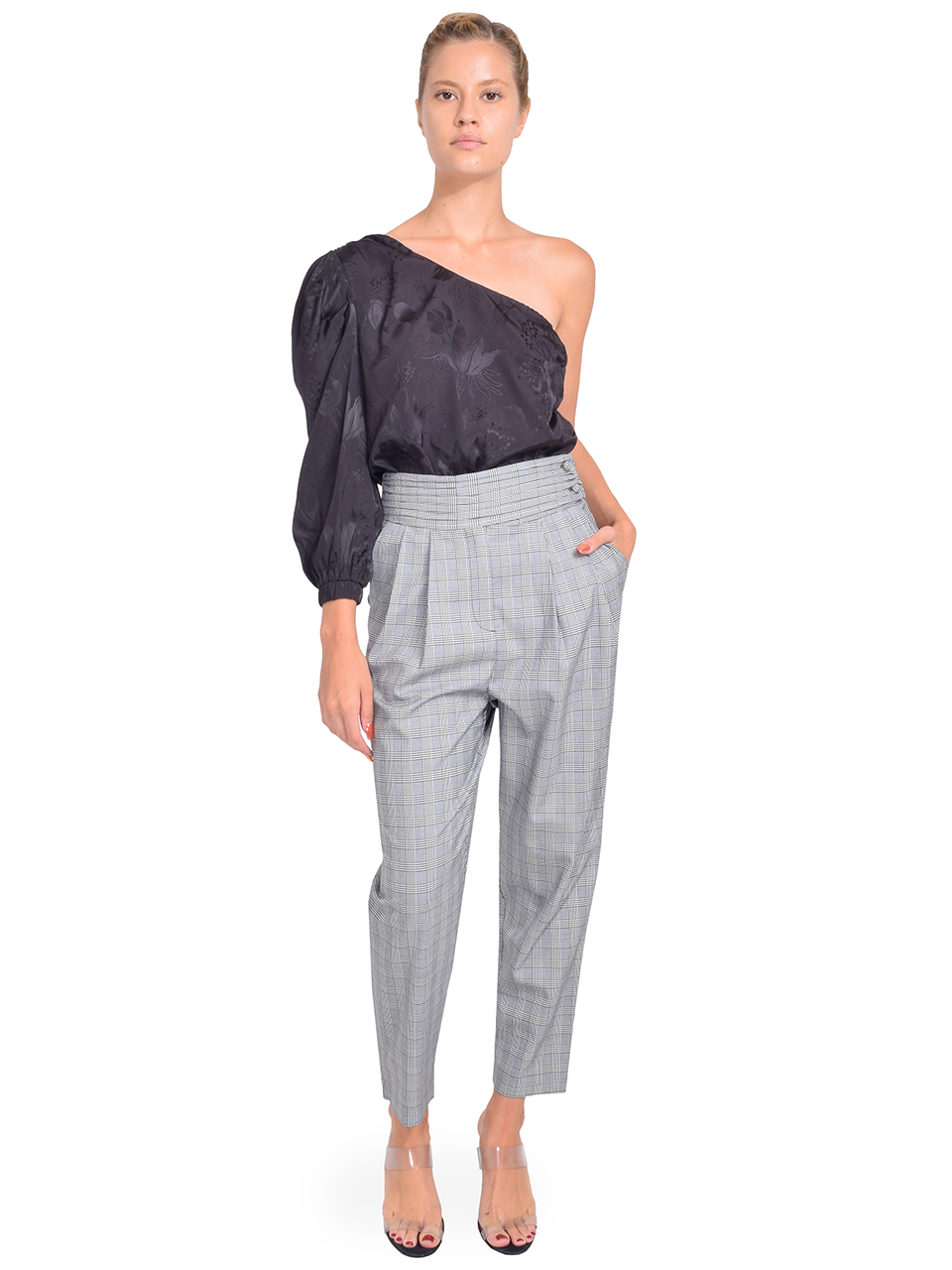 CINQ A SEPT Serenity Pant in Houndstooth Plaid Full Outfit