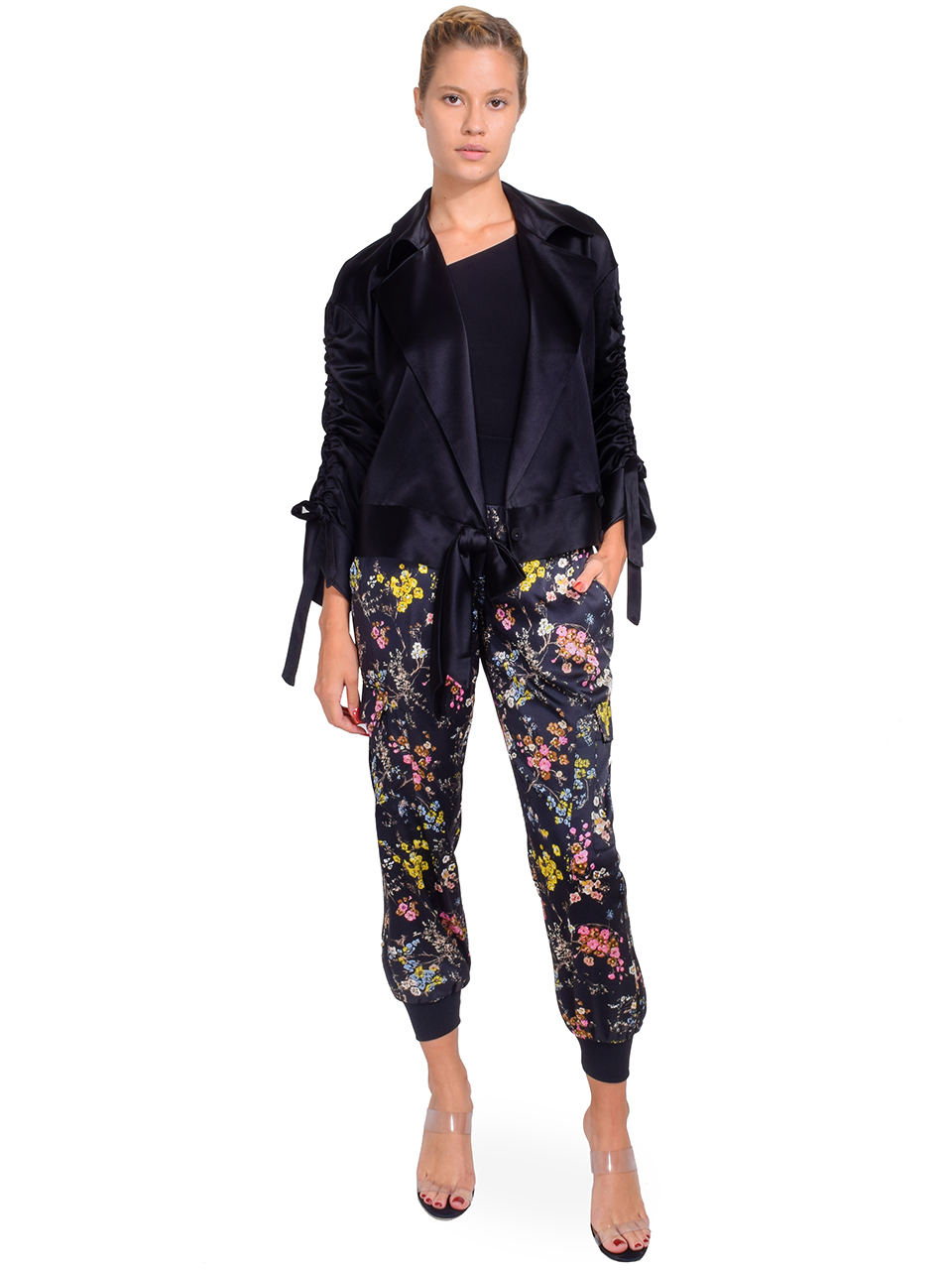 CINQ A SEPT Cropped Aziza Jacket in Black Full Outfit
