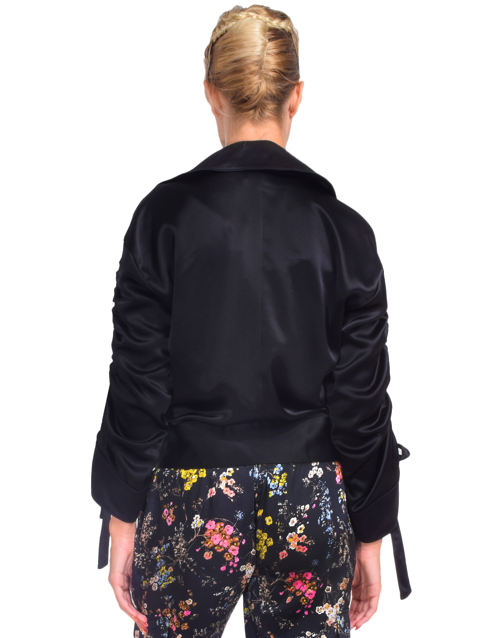 CINQ A SEPT Cropped Aziza Jacket in Black Back View
