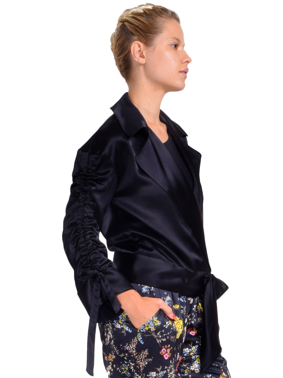 CINQ A SEPT Cropped Aziza Jacket in Black Side View