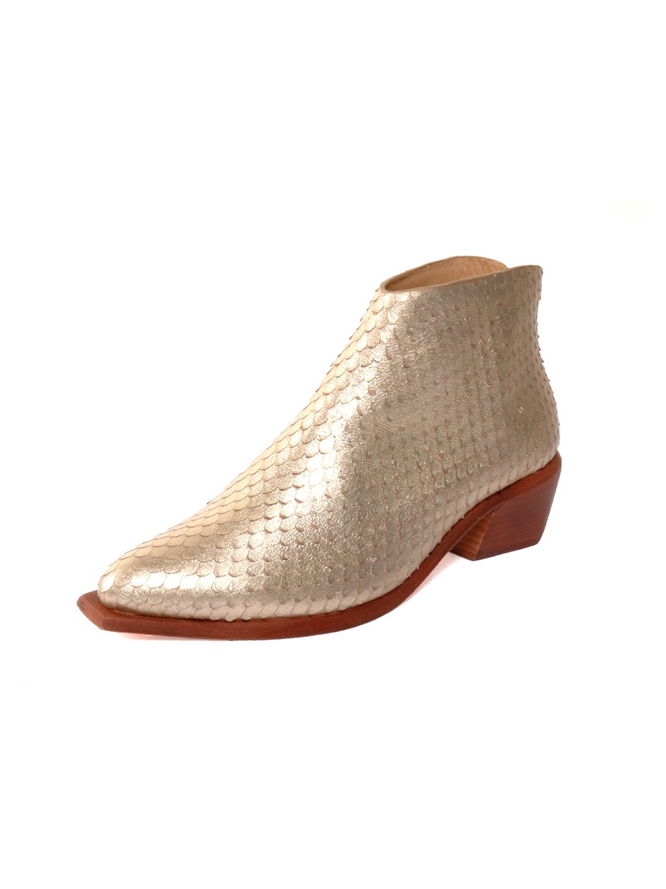 """WAL & PAI Scot West Gold Reptile Ankle Boot 3/4"""" View"""