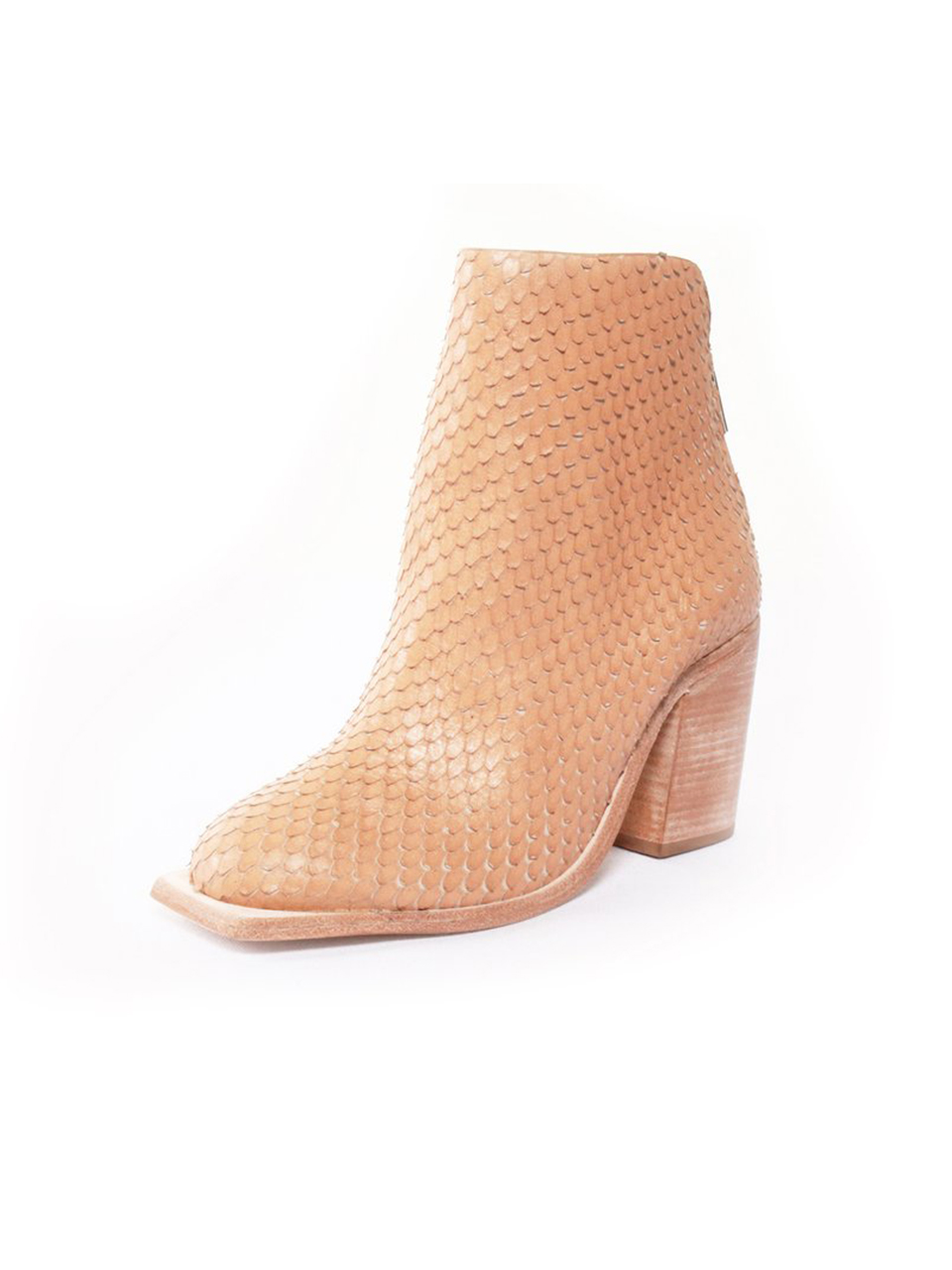 """WAL & PAI Bolan Ankle Boot in Camel Reptile 3/4"""" View"""