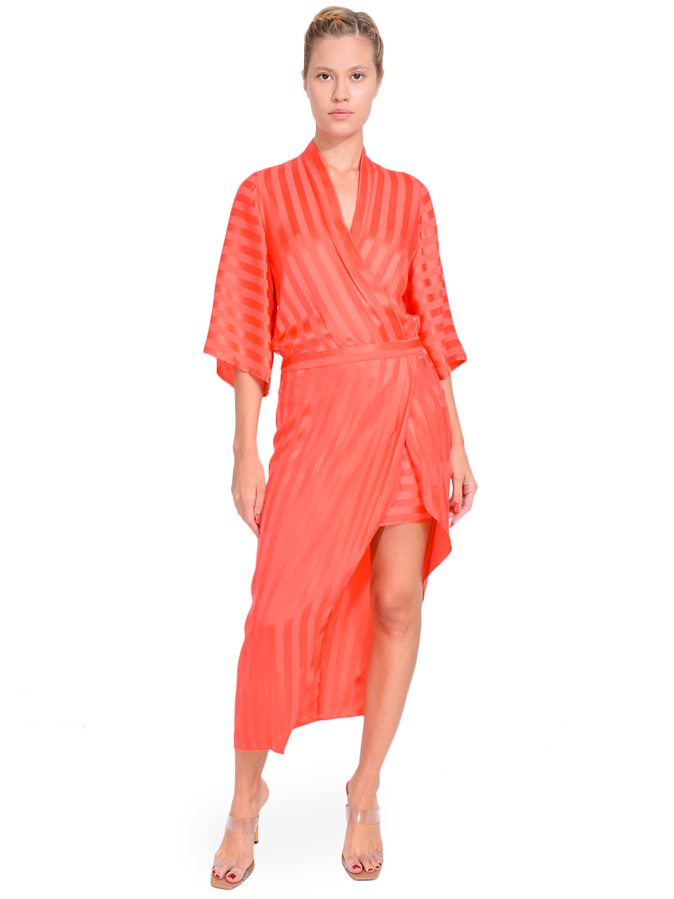 MICHELLE MASON Kimono Sleeve Dress in Watermelon Front View  X1https://cdn11.bigcommerce.com/s-3wu6n/products/33416/images/110527/21__80398.1601324056.244.365.jpg?c=2X2