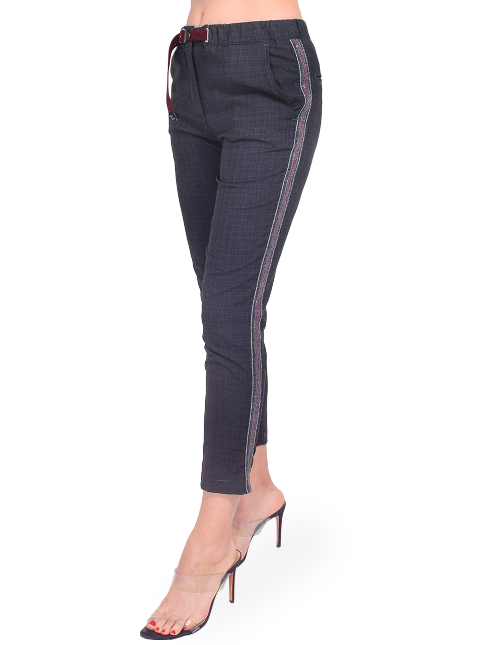 WHITE SAND Angelina Pant in Grey Plaid Side View