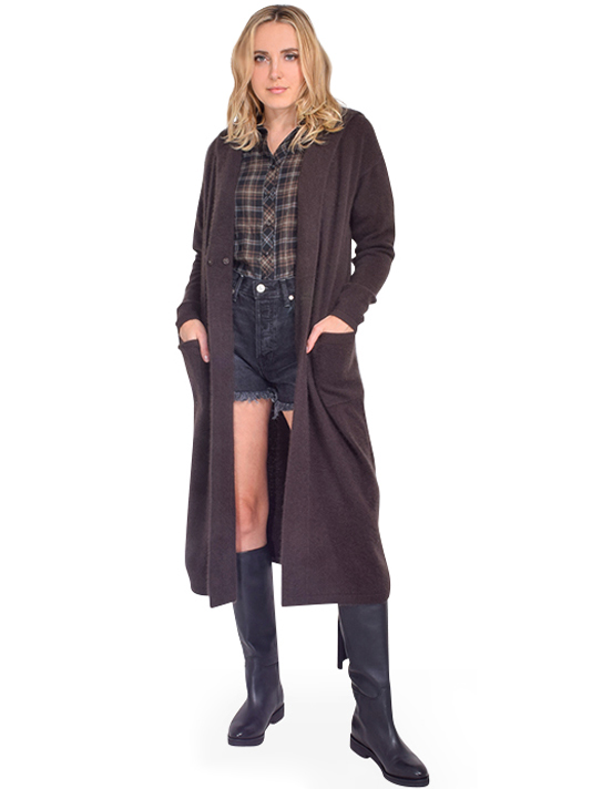 C.T. PLAGE Dark Brown Hooded Cardigan Front View  X1https://cdn11.bigcommerce.com/s-3wu6n/products/33499/images/110814/DSC_0250__30192.1604368728.244.365.jpg?c=2X2