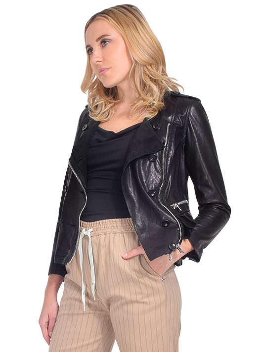 3.1 PHILLIP LIM Leather Moto Jacket with Tiered Ruffle Hem Side View