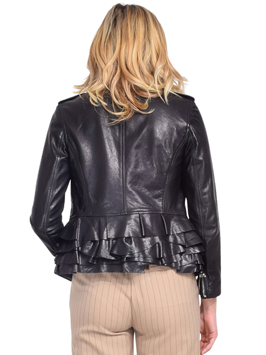 3.1 PHILLIP LIM Leather Moto Jacket with Tiered Ruffle Hem Back View